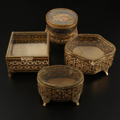 Stylebuilt and Other Brass Filigree and Glass Footed Jewelry Caskets