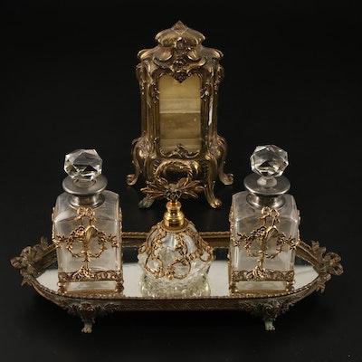 French Rococo Style Brass Vanity Jewelry Vitrine, Perfume Bottles, Mirror Tray