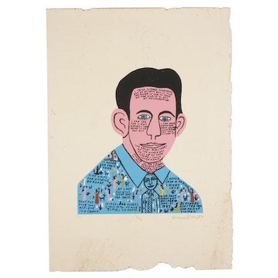"Howard Finster Folk Art Serigraph ""Howard in 1937 #2,"" Circa 1989"