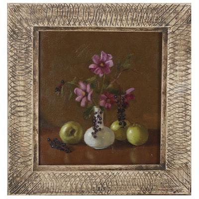"Rowena Wilson Still Life Oil Painting ""Cosmos + Green Apples,"" 2001"