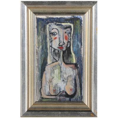 Modernist Style Acrylic Portrait, Late 20th Century