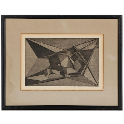 Abstract Etching With Aquatint, Mid-20th Century