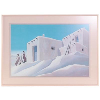 Offset Lithograph of Pueblo Home After Deborah Hiatt