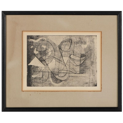 Abstract Etching With Mezzotint, Mid-20th Century