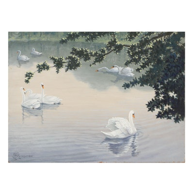 F.S. Rousseau Oil Painting of Swans, Mid-20th Century