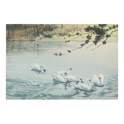Oil Painting of Swans Attributed to F.S. Rousseau, Mid-20th Century