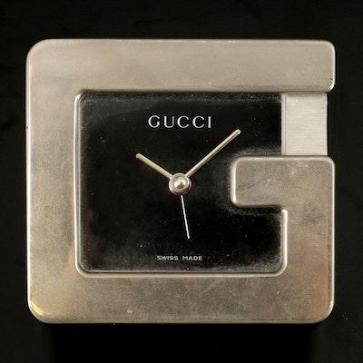 "Gucci ""G"" Swiss Made Nickel Silver Desk Clock"