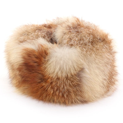 Red Fox Fur and Leather Hat