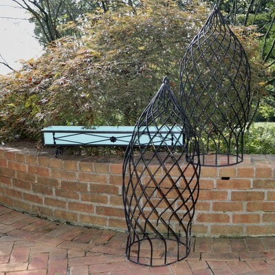 Iron Topiary Frames and Oblong Planter with a Robin's Egg Blue Liner