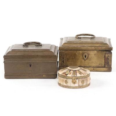 Brass Handmade Trinket Boxes with Bone and Brass Jewelry Box