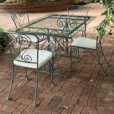 Patio Scroll Base Iron Dining Table and Four Vinyl Seat Chairs
