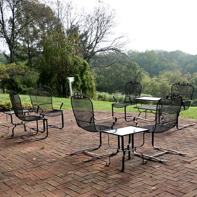 Patio Woven Wire Bouncer Armchairs and Side Tables