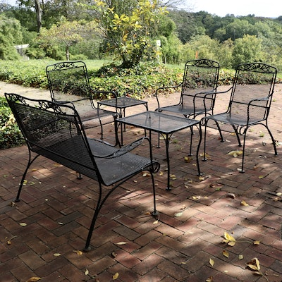 Six Piece Patio Wire Mesh Settee, Armchairs and Accent Table Set