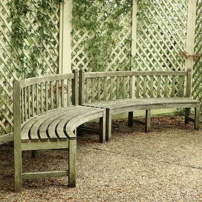 Smith & Hawkens Pair of Teak Curved Benches