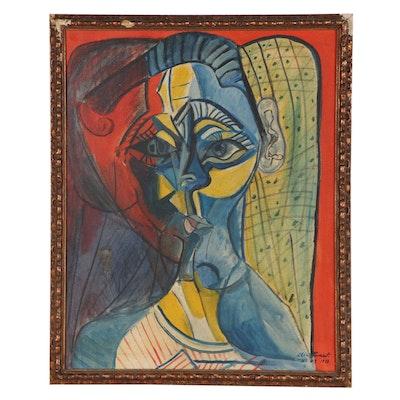 Oil Portrait After Pablo Picasso, 1973