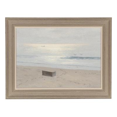 "Alexander Farnham Oil Painting ""Box on the Beach,"" Late 20th Century"