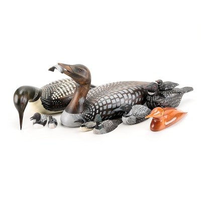 Handcrafted Wooden Loon and Duck Decoys, Mid to Late 20th Century