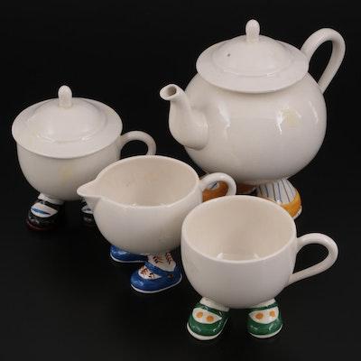 Carlton Ware Ceramic Walking Egg Tea Set, Mid-20th Century