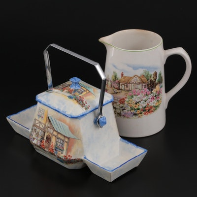 Lancaster & Sons Ltd. Earthenware Biscuit Jar Caddy with Other English Pitcher