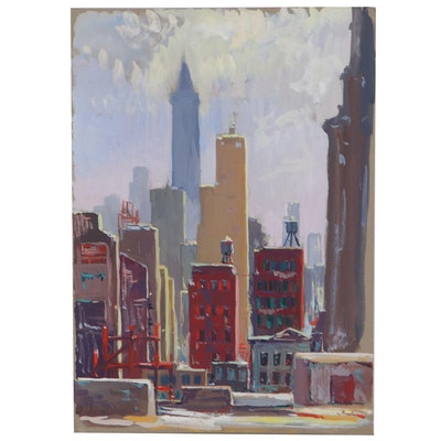 Cityscape Gouache Painting, Late 20th Century