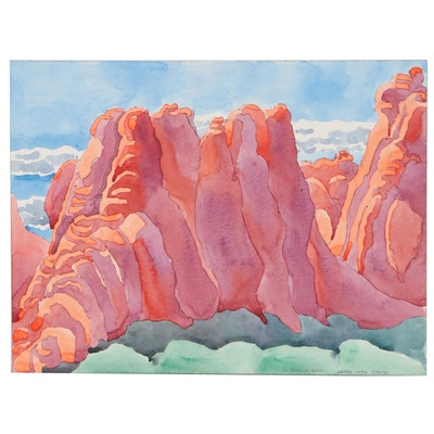 """Marjorie Shaw Kubach Watercolor Painting """"Arches, Utah,"""" 1993"""