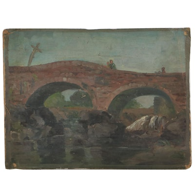 Oil Painting of Bridge, Early-Mid-20th Century