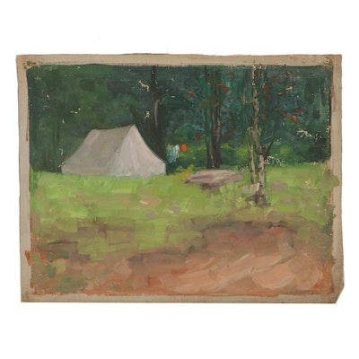 Oil Painting of Campground, Mid-20th Century