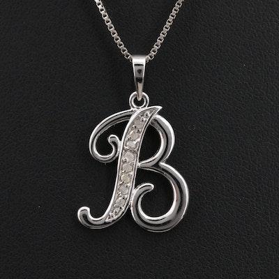 "Diamond ""B"" Pendant Necklace"