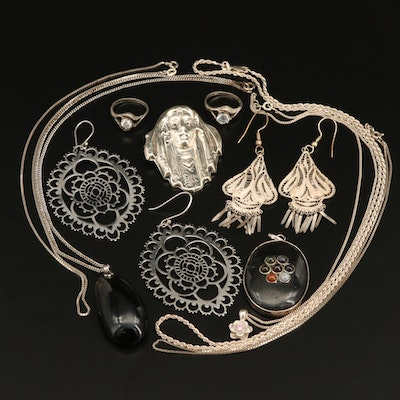 Sterling Jewelry Collection with Filigree Earrings and Figural Brooch