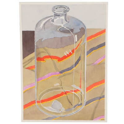 Still Life Watercolor Painting of Glassware, Late 20th Century