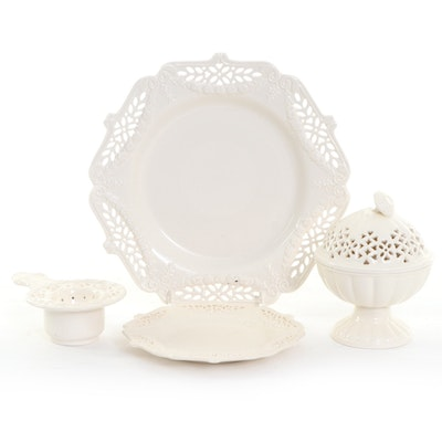 """Royal Creamware """"Occasions"""" Lidded Sugar Bowl, Dessert Plate and More"""
