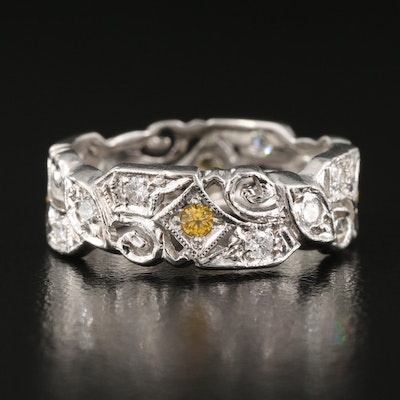 1950s Platinum Diamond and Sapphire Scrolled Openwork Infinity Band