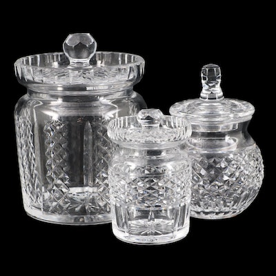 """Waterford Crystal """"Hibernia"""" Biscuit Barrel and Waterford Honey and Candy Jars"""