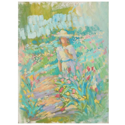 Impressionist Style Oil Painting Of Figure Among Flowers, Late 20th Century