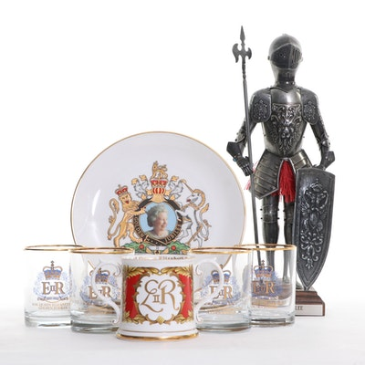 The Golden Jubilee Commemorate Glassware, Plates, and Metal Knight