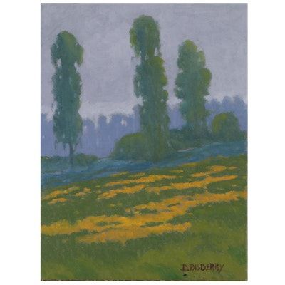 Jesse Don Rasberry Landscape Oil Painting, Late 20th Century