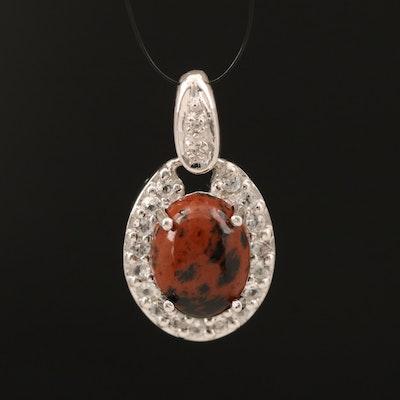 Sterling Mahogany Obsidian, Zircon and Topaz Pendant