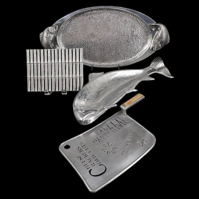 Wilton Armetale Serving Platters with York Pewter Charcuterie Board