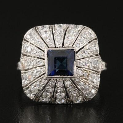 Art Deco Platinum Sapphire and 1.06 CTW Diamond Bombé Ring