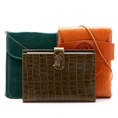 Karen Callan Croc-Embossed Leather Photo Album and Other Leather Pouch Bags