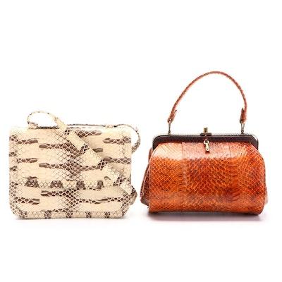 Sterling Cobra Skin Hard Frame Handbag and Python Skin Flap Shoulder Bag