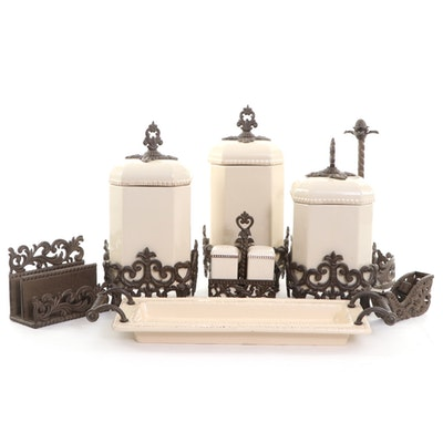 """Gracious Goods """"Provencial"""" Metal and Ceramic Canister Set and More"""