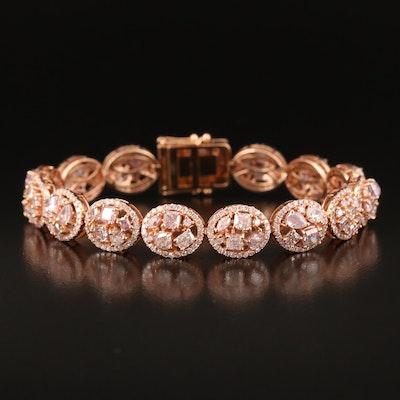 18K Rose Gold 10.57 CTW Diamond Bracelet with GIA Report