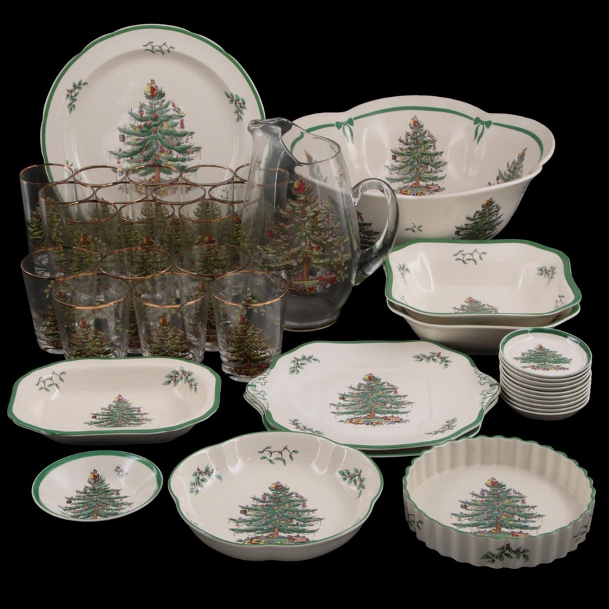"""Spode """"Christmas Tree"""" Porcelain Serveware with Glass Pitcher and Tumblers"""
