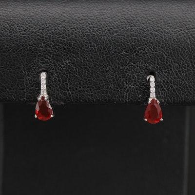Sterling Fire Opal and Topaz Earrings