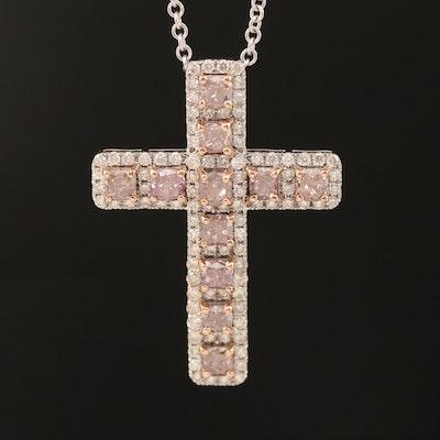 18K 2.66 CTW Diamond Cross Pendant Necklace with GIA Report