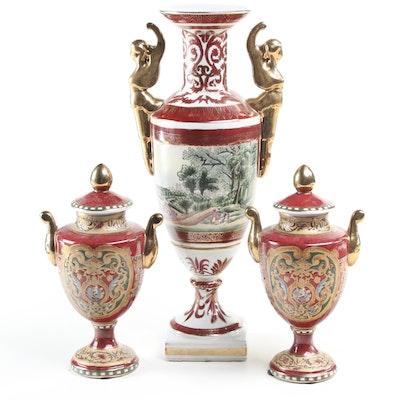 Oriental Accents Three Porcelain Garniture Vases