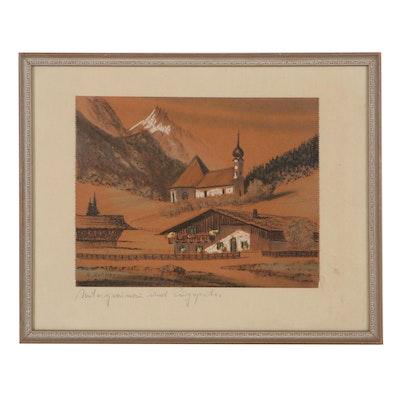"""Pastel Drawing Attributed to Albert Richter """"Untergrainau und Zugspitze"""""""