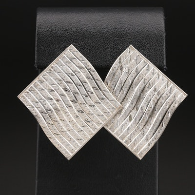 Sterling Herringbone Link Earrings