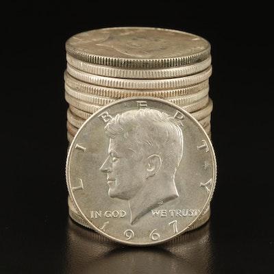Nineteen Kennedy Silver Half Dollars, 1964–1968